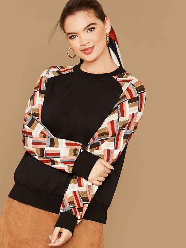 Plus Size Striped Contrast Raglan Sleeve Pullover Top