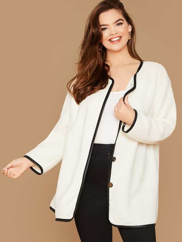 Plus Size Contrast Binding Teddy Coat Top