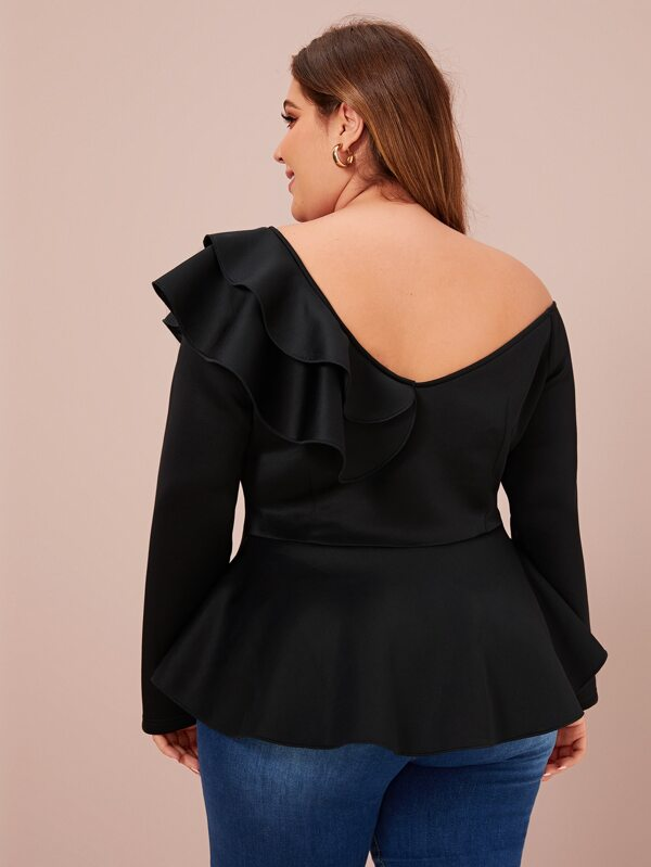 Plus Size Asymmetrical Neck Ruffle Trim Layered Peplum Blouse