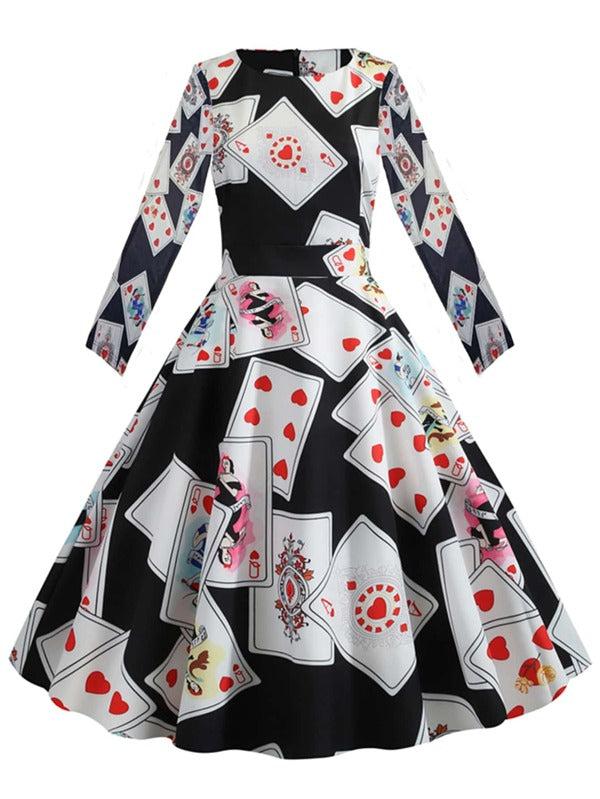 Plus Size Playing Card Print Belted Ball Gown Dress