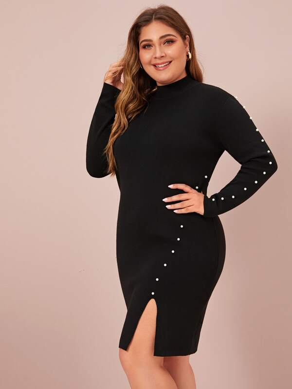 Plus Size Pearls Split Sweater Dresses Without Belted