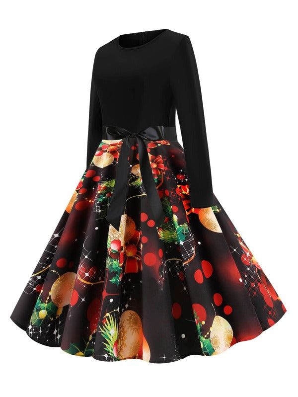 Plus Size Christmas Gift Print Belted Ball Gown Dress