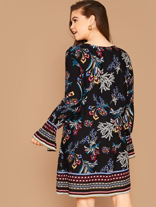 Plus Size Plants And Tribal Print Flounce Sleeve Tunic Dress