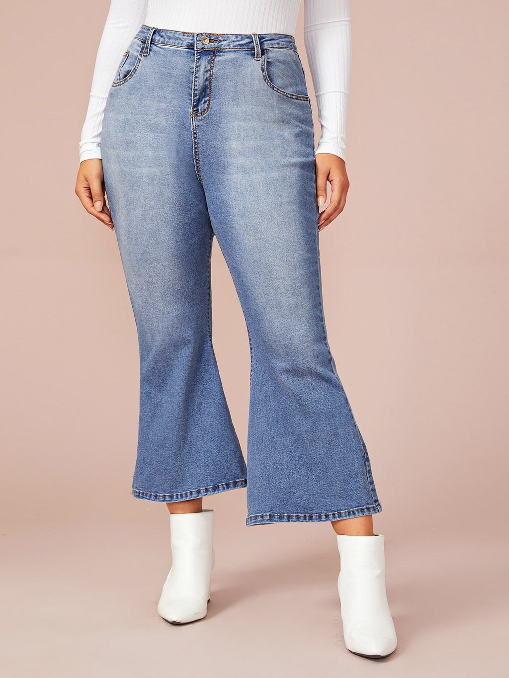 Plus Size Flare 5-Pocket Leg Jeans