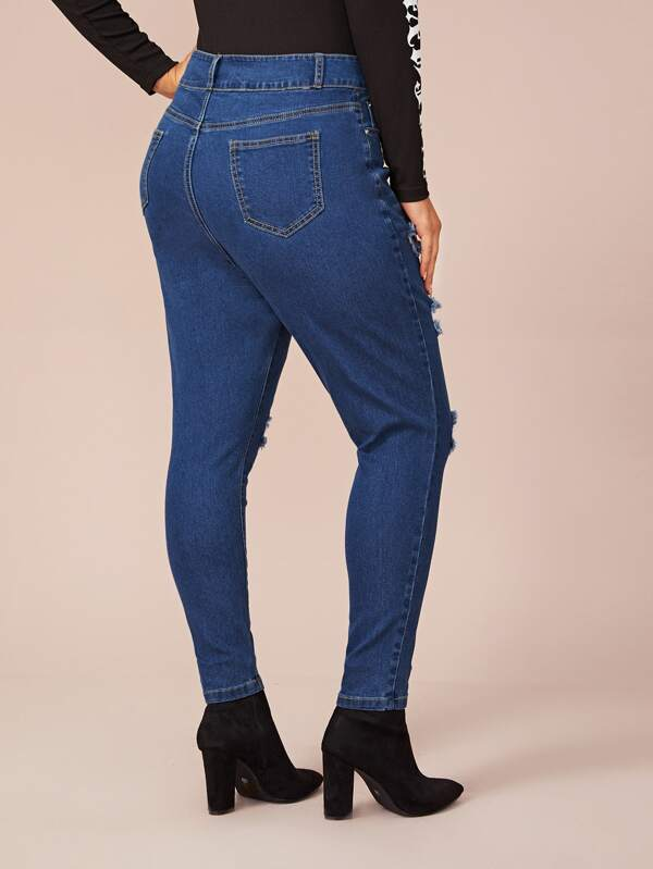 Plus Size Ripped Cat Whiskers Skinny Jeans