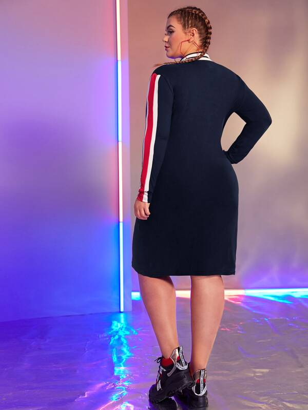 Plus Size Colorblock Zip Half Fitted Dress