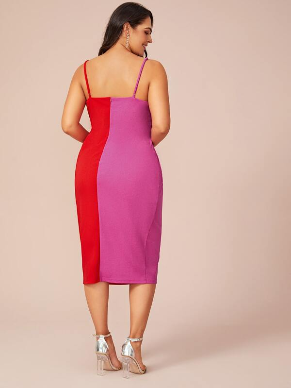 Plus Size Colorblock Split Cami Dress