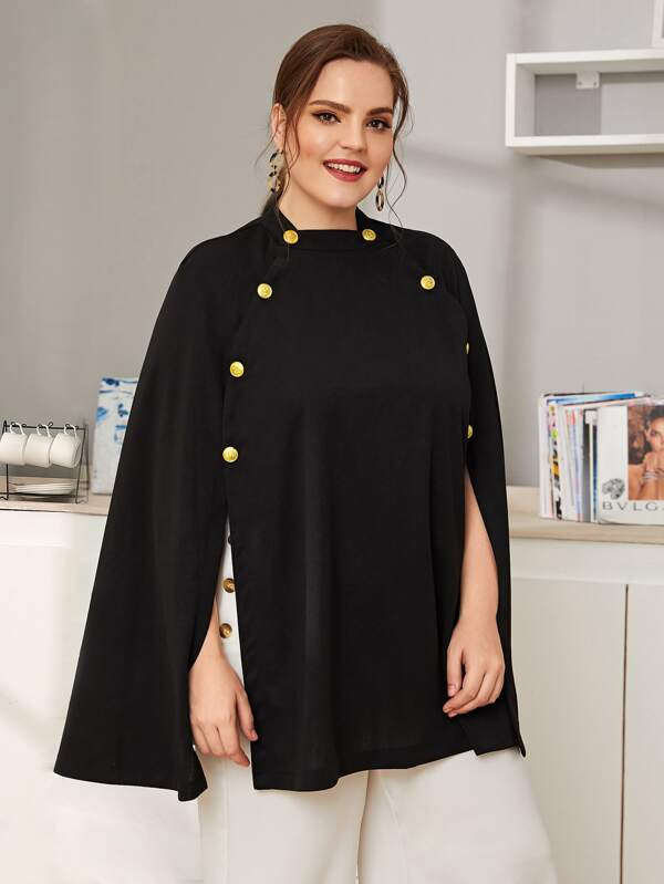 Plus Size Button Detail Solid Poncho Coat