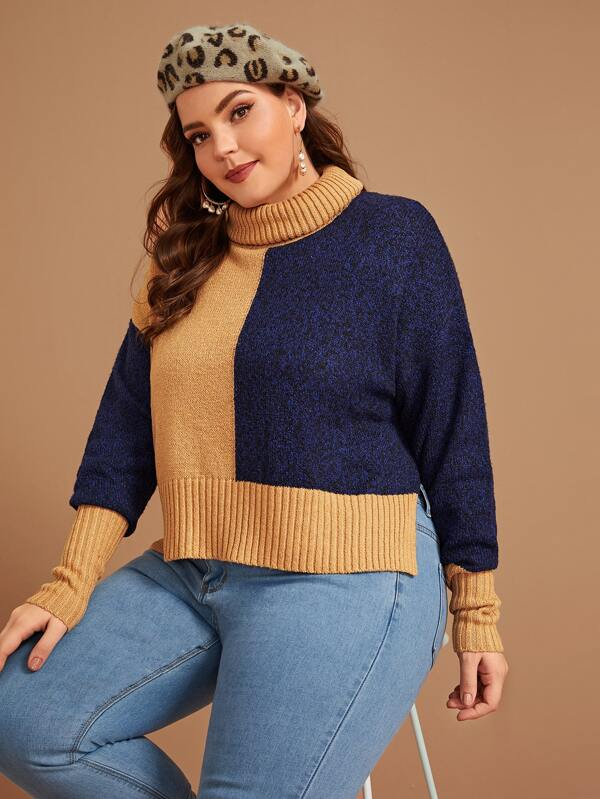 Plus Size Turtleneck Colorblock Slit Side Sweater Top
