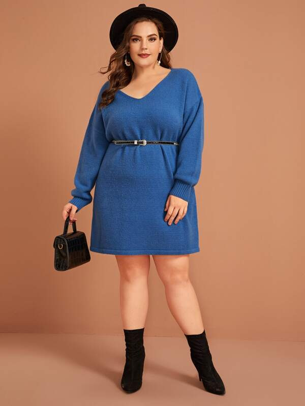 Plus Size V-Neck Drop Shoulder Sweater Top Dress Without Belt