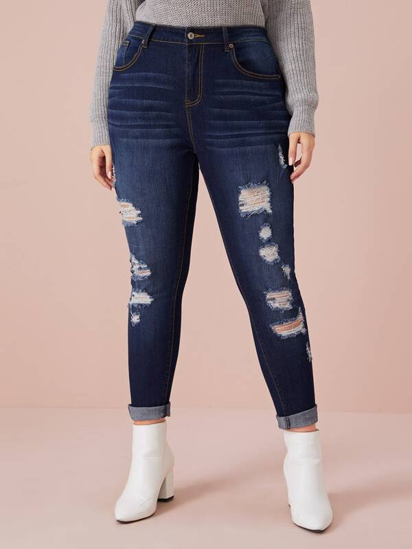 Plus Size Dark Wash Ribbed Skinny Jeans