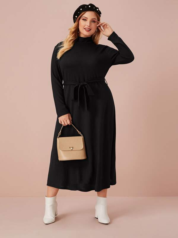 Plus Size Solid Mock Neck Belted Sweater Dress