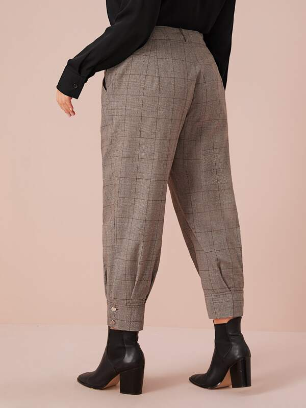 Plus Size Plaid Print Carrot Pants Without Belt
