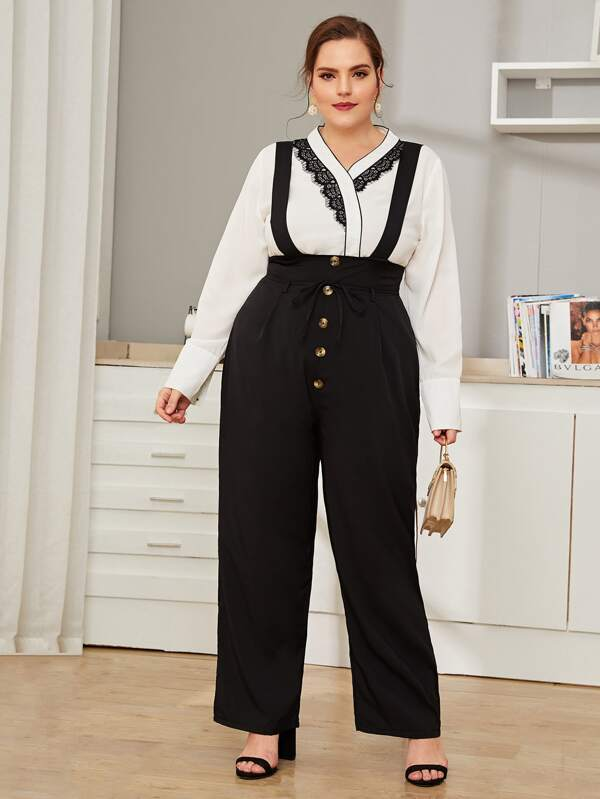 Plus Size Button Detail Self Tie Suspender Pants