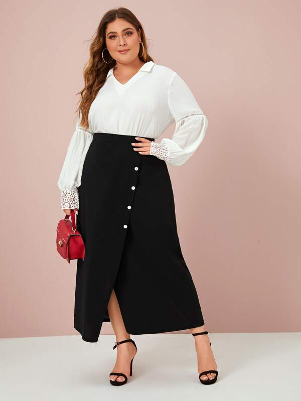 Plus Size Solid Button Wrap Skirt