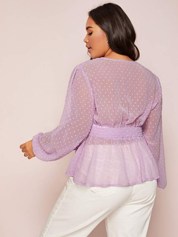 Plus Size Swiss Dot Sheer Mesh Belted Blouse