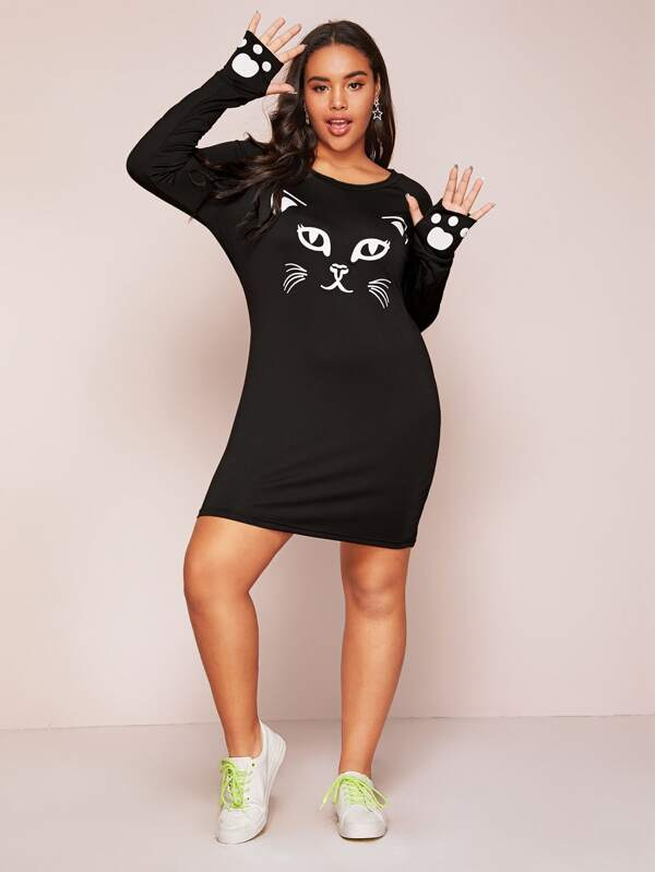 Plus Size Cat Print Tee Dress With Thumb Holes