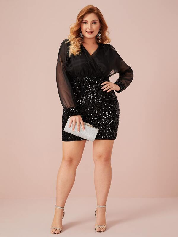 Plus Size Surplice Wrap Organza Bodice Sequin Dress