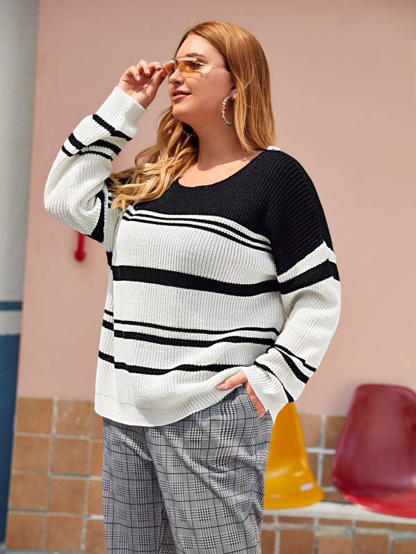 Plus Size Striped Colorblock Lace Up Drop Shoulder Sweater