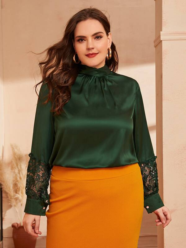 Plus Size Mock Neck Contrast Lace Satin Blouse