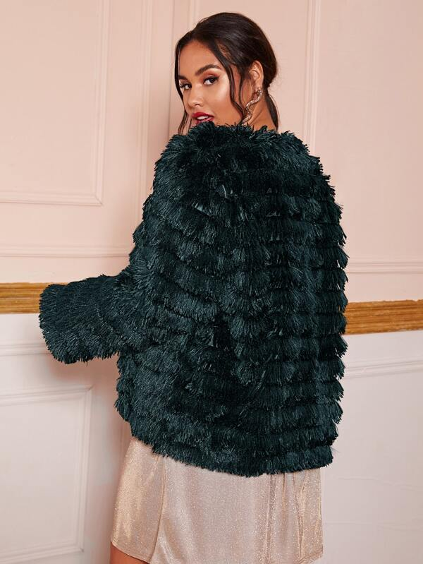 Plus Size Solid Faux Fur Coat