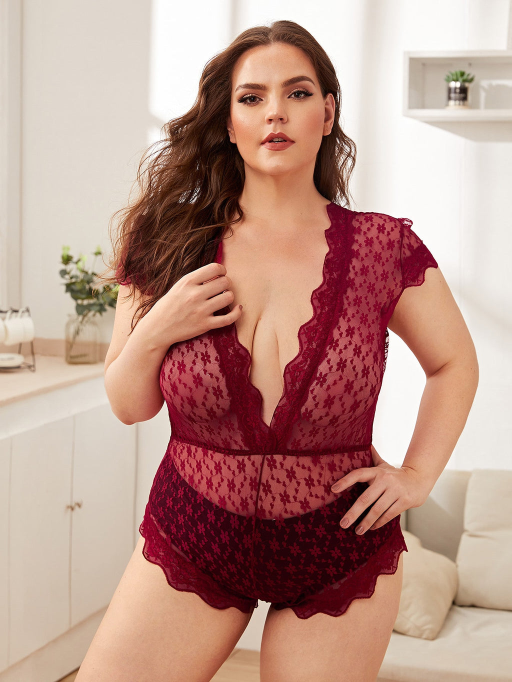 Plus Size loral Lace Teddy Bodysuit
