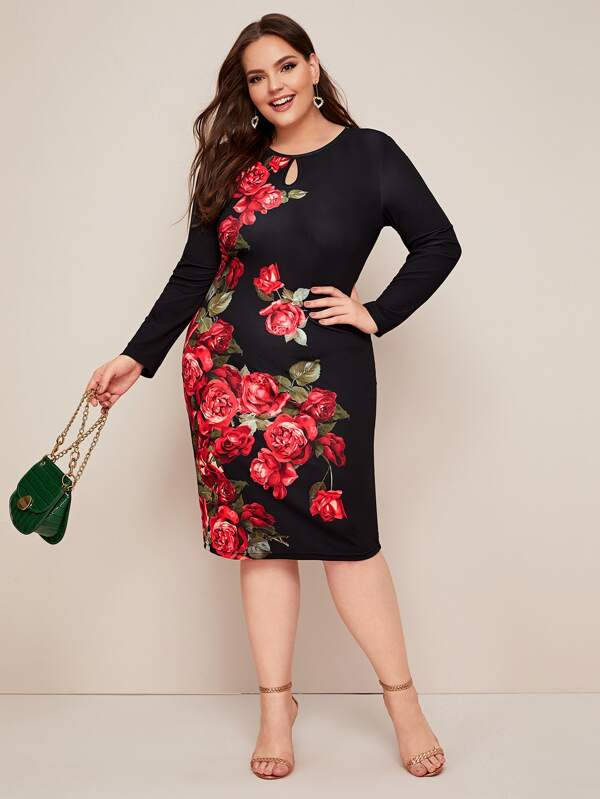 Plus Size Keyhole Neck Floral Print Dress