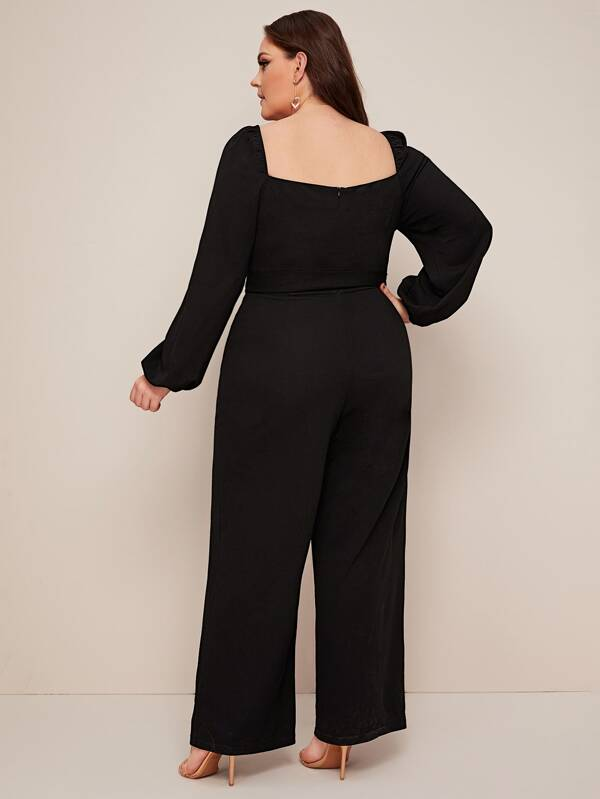 Plus Size Bishop Sleeve Belted Jumpsuit