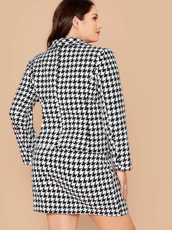 Plus Size Double Breasted Houndstooth Blazer & Skirt Set