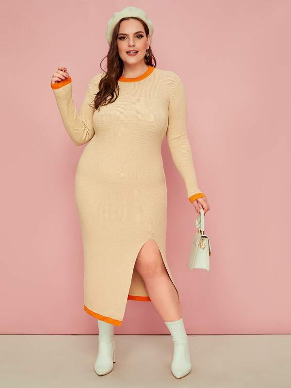 Plus Size Contrast Trim Split Hem Bodycon Sweater Dress