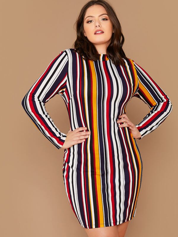Plus Size Mock Neck Colorful Striped Dress