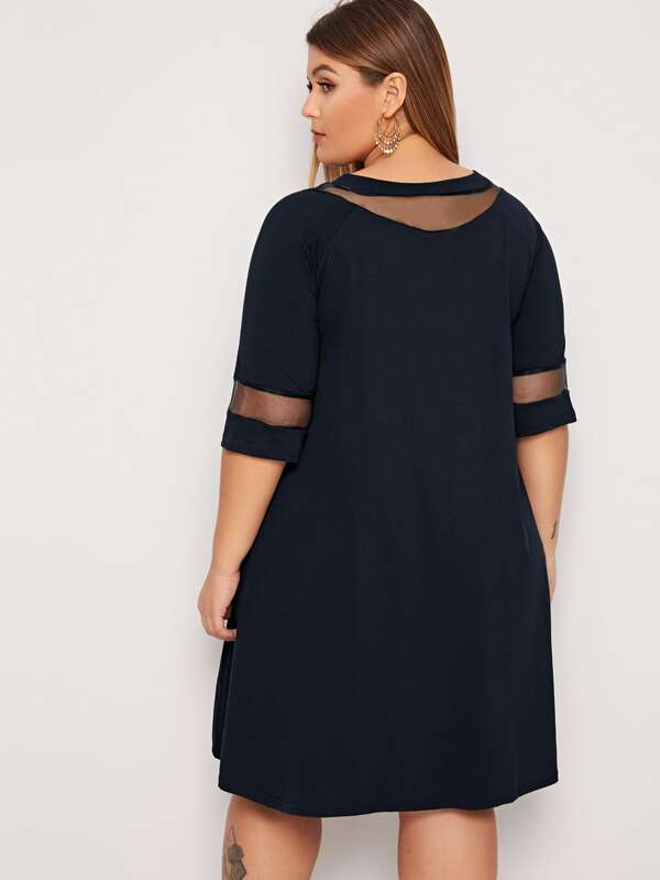 Plus Size Mesh Panel Solid Swing Dress
