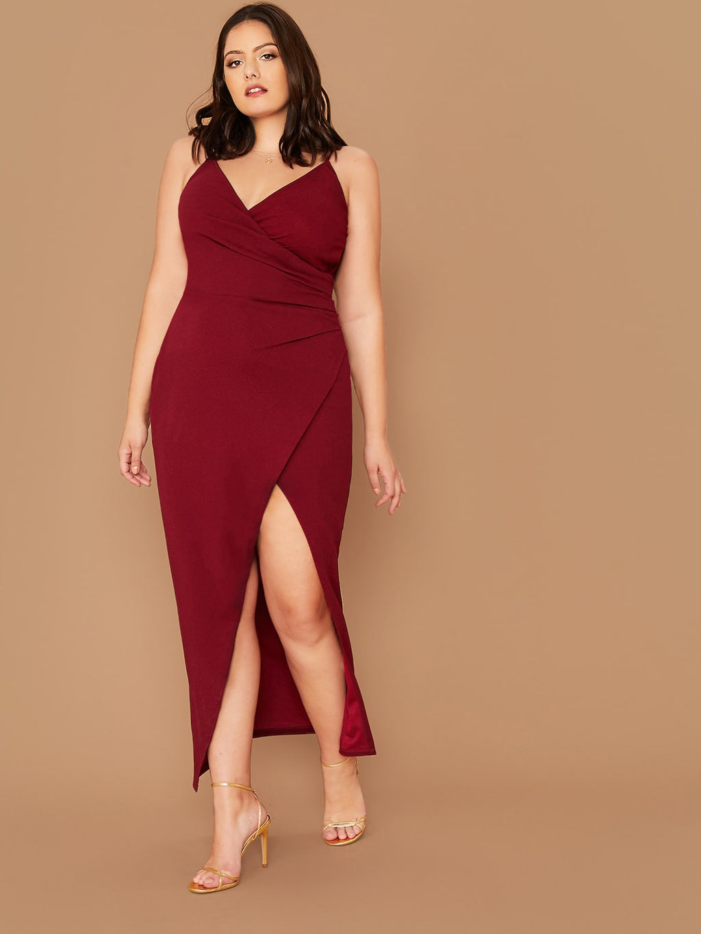 Plus Size Surplice Neck Wrap Solid Cami Dress