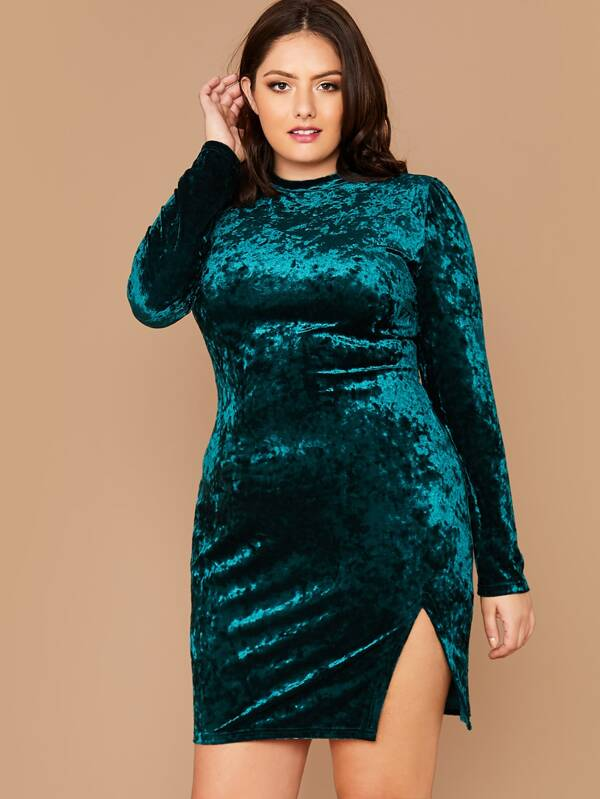 Plus Size Split Side Velvet Dress