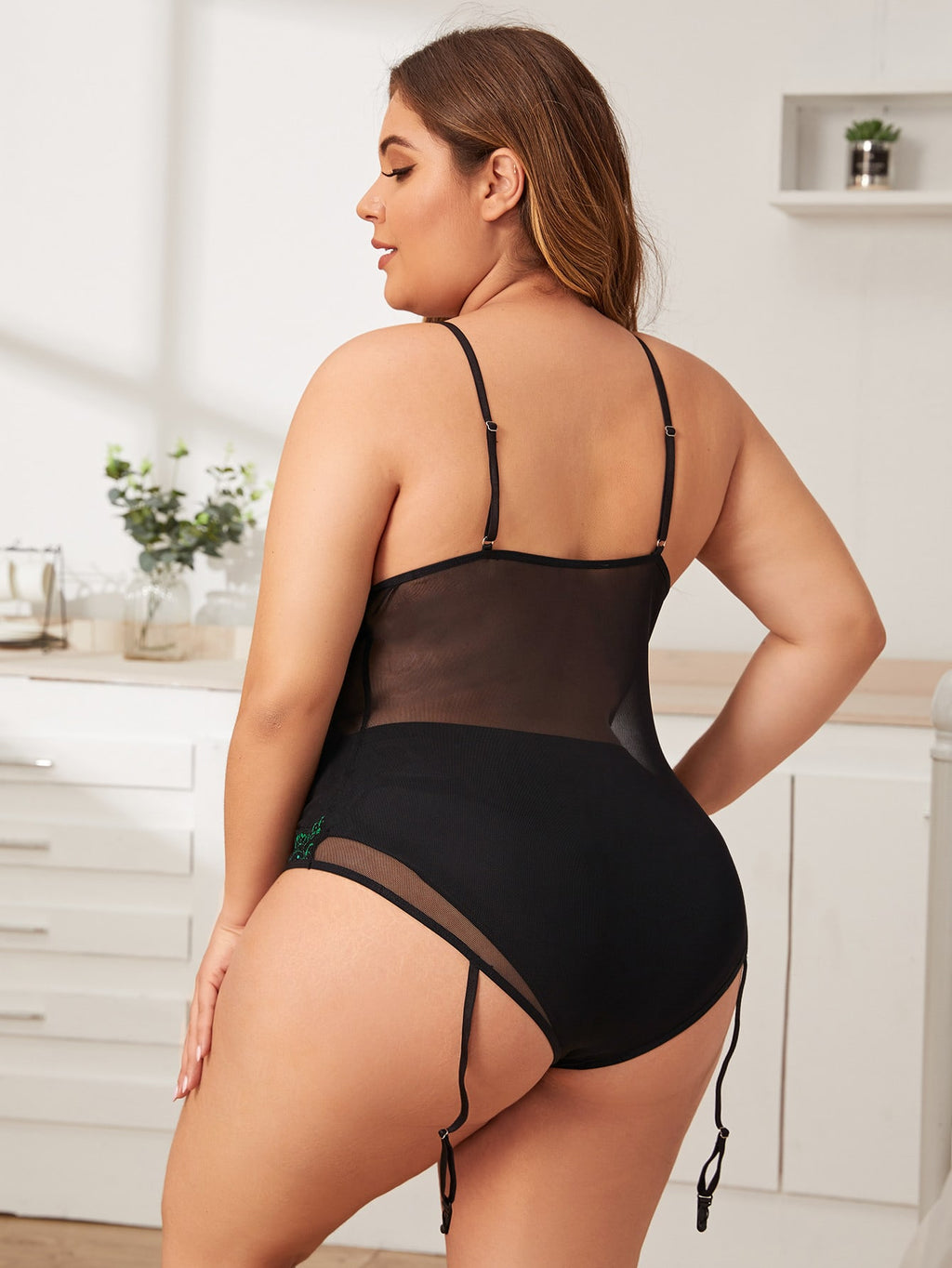 Plus Size Contrast Lace Sheer Mesh Harness Teddy Bodysuit