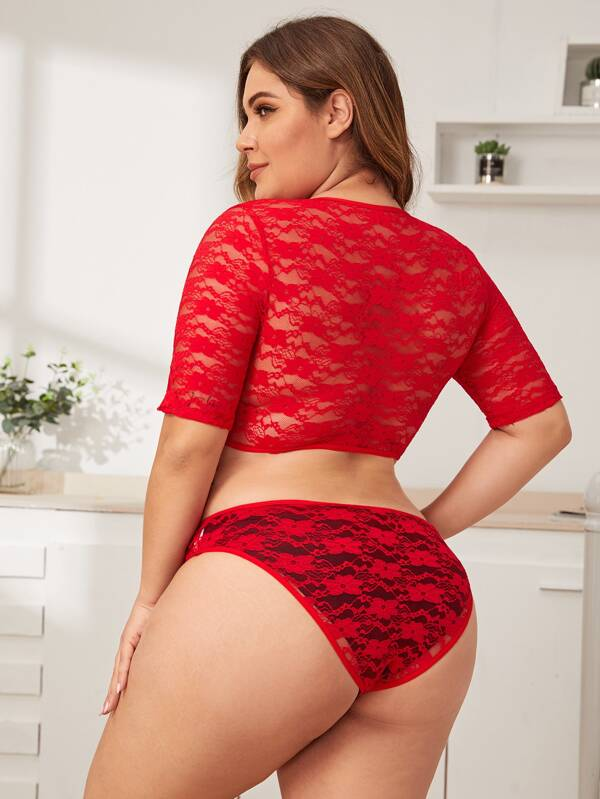 Plus Size Floral Lace Cut-Out Teddy Bodysuit