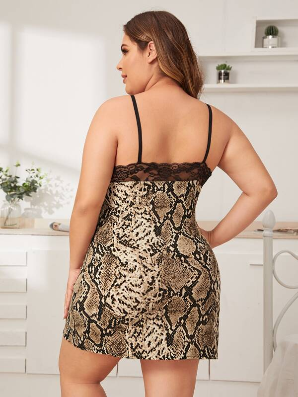 Plus Size Snakeskin Contrast Lace Dress