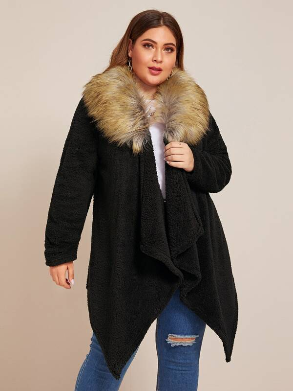 Plus Size Contrast Faux Fur Collar Teddy Coat