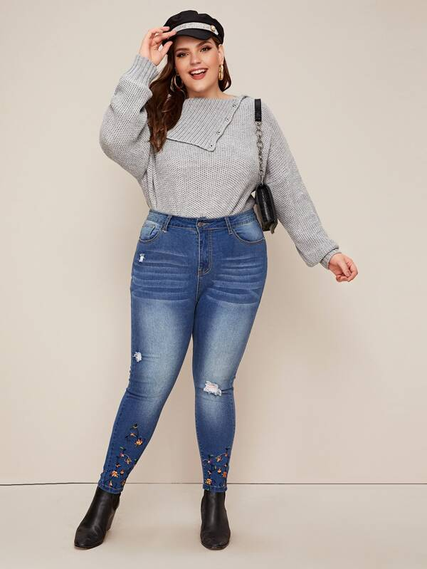 Plus Size Ripped Floral Embroidered Skinny Jeans