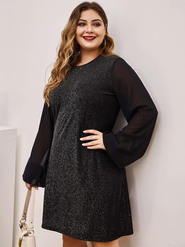 Plus Size Contrast Mesh Sleeve Glitter Fitted Dress