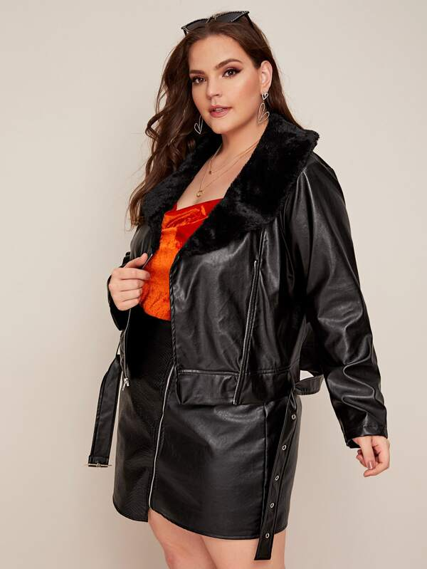 Plus Size Contrast Faux Fur Belted PU Leather Jacket