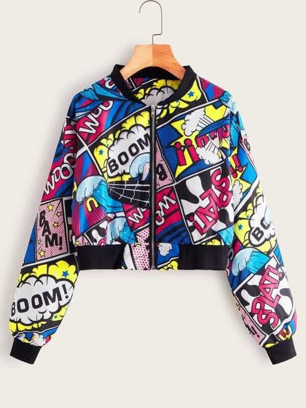 Plus Size Comic & Letter Graphic Bomber Jacket