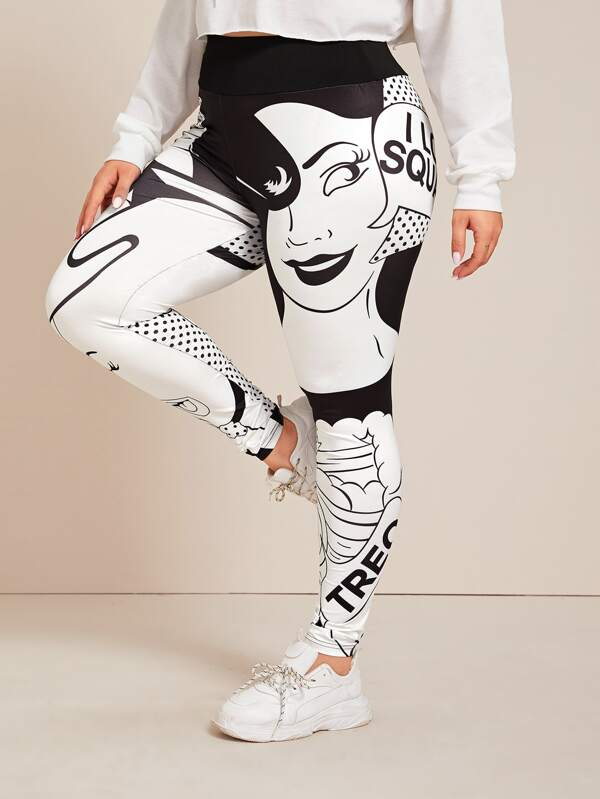 Plus Size Comic & Letter Graphic Skinny Leggings