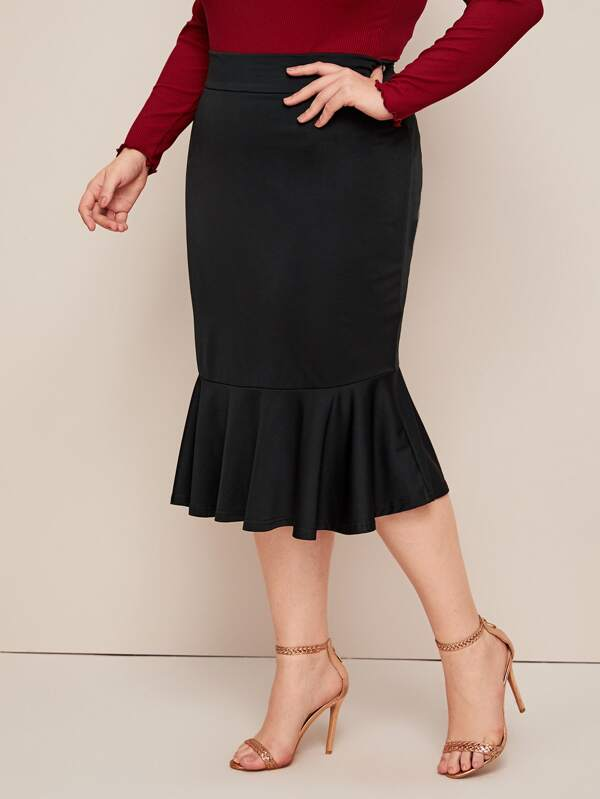 Plus Size Solid Ruffle Hem Mermaid Skirt