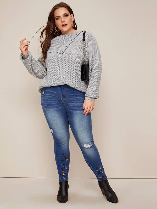 Plus Size Buttoned Foldover Collar Honeycomb Knit Sweater
