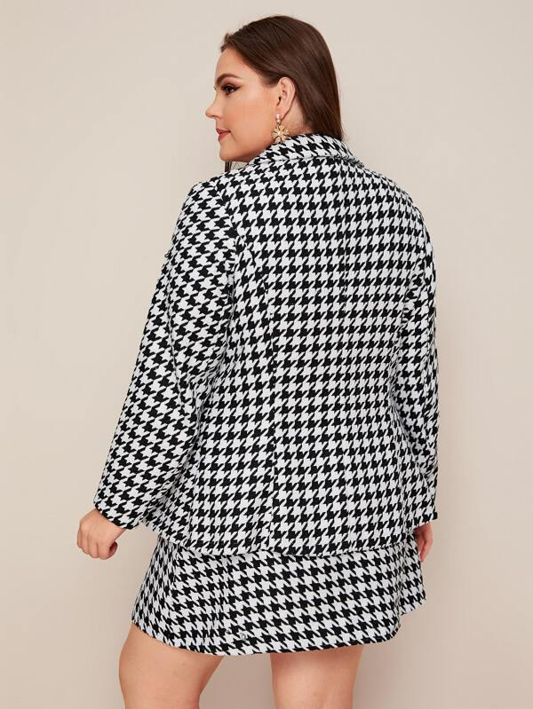 Plus Size Houndstooth Single Button Blazer & Wrap Skirt Set