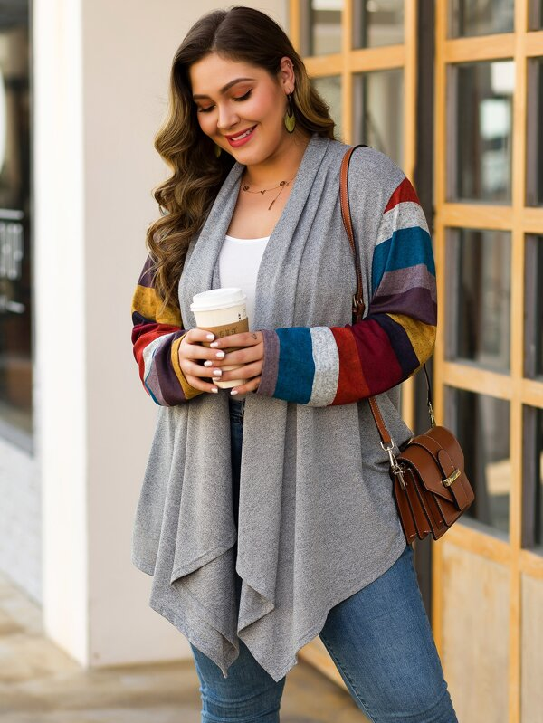 Plus Size Block Striped Open Front Cardigan