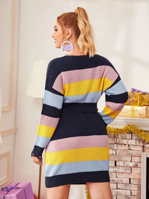 Plus Size Colorblock Frayed Hem Sweater & Sweater Skirt Set
