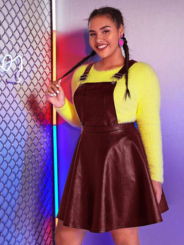 Plus Size Leather Look A-Line Pinafore Dress