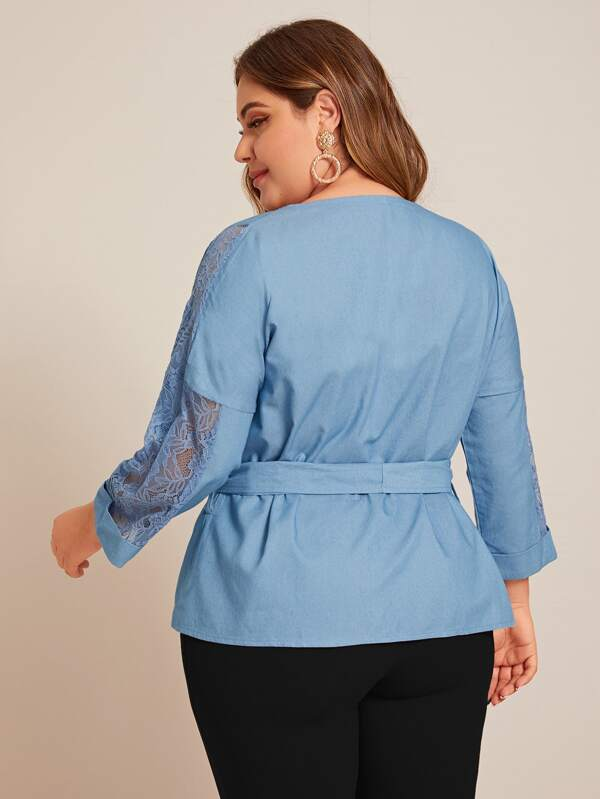 Plus Size Lace Panel Ruffle Hem Belted Wrap Blouse